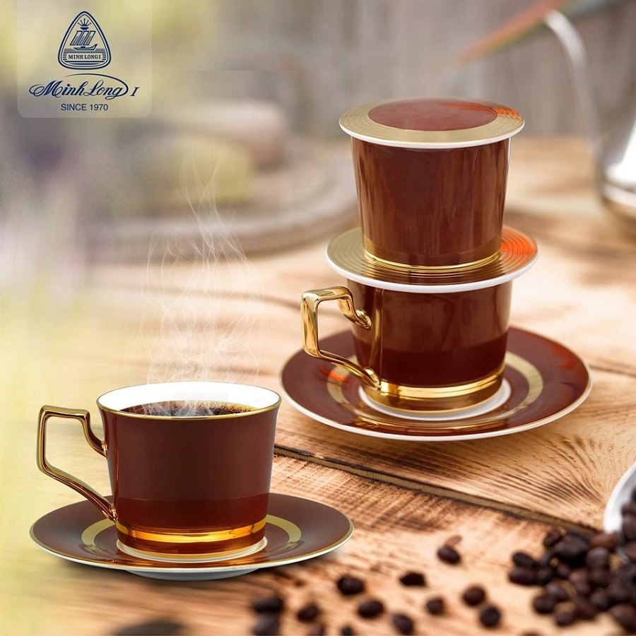 Bộ phin pha Cà phê sứ Mạ Vàng 24K