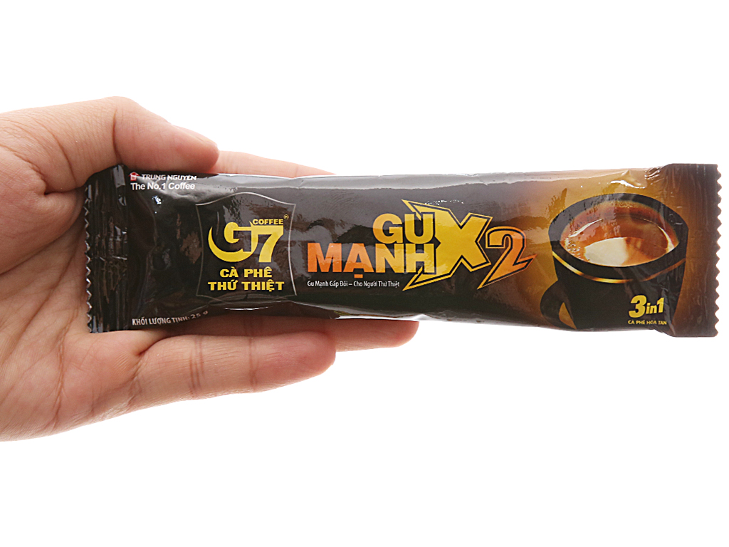 Cà phê G7 hòa tan Gu Mạnh X2( 3in1) Hộp 12 gói