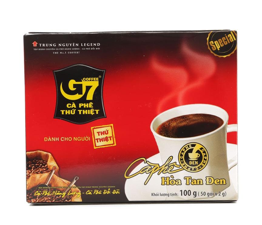 G7 hòa tan đen không đường hộp 50 gói