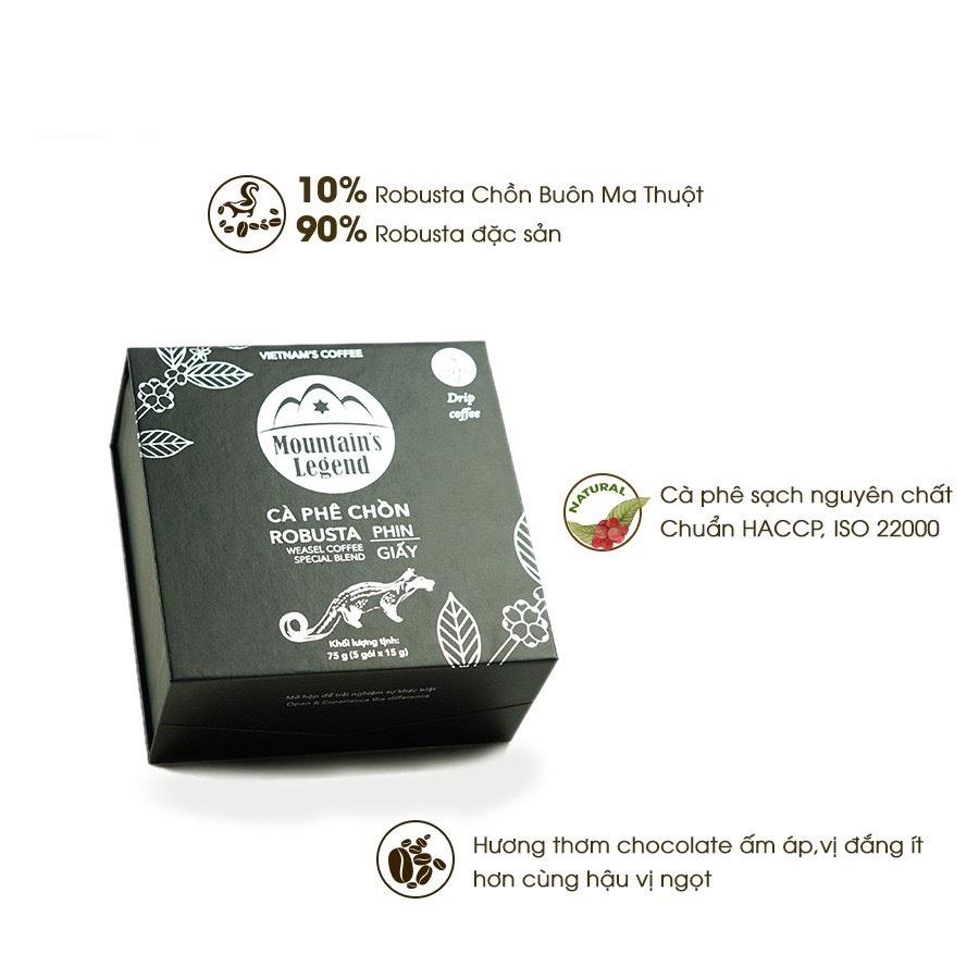 Cà phê Chồn Túi lọc Robusta - 75 gam